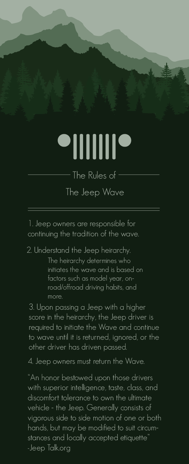 The Rules of the Jeep Wave