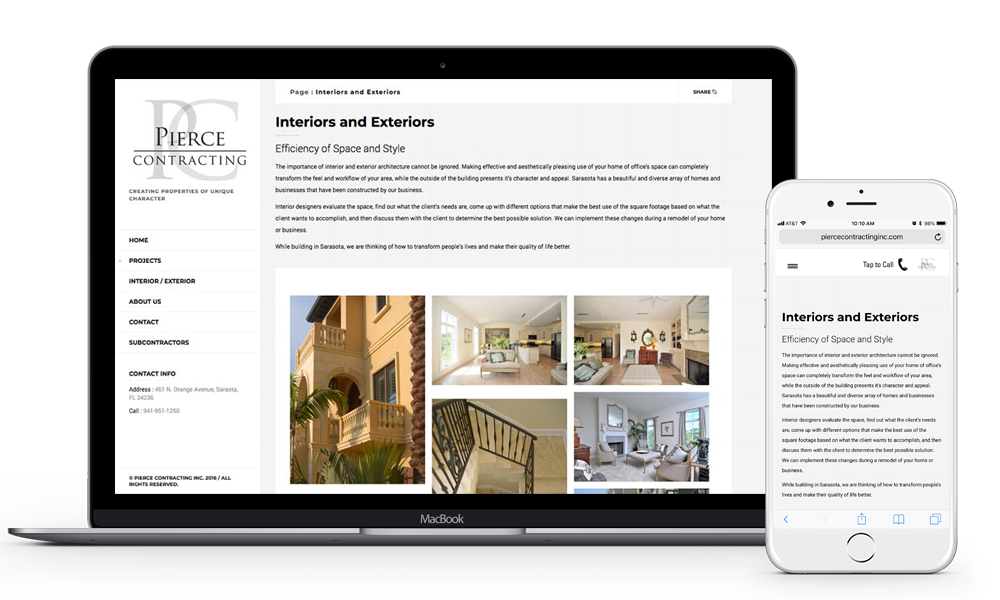 Pierce Contracting Sarasota website