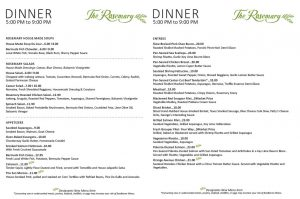 The Rosemary Sarasota Dinner Menu