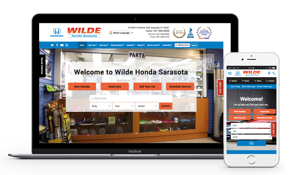 Wilde Honda Sarasota Website