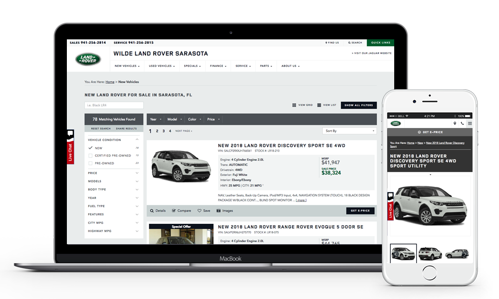 Wilde Land Rover Sarasota Land Rover Website